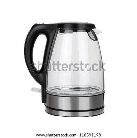 stainless electric kettle isolated on white background - stock photo