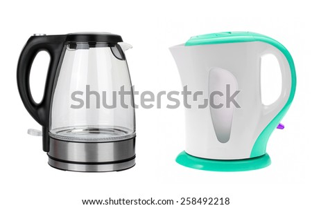 stainless electric kettles isolated on white background - stock photo