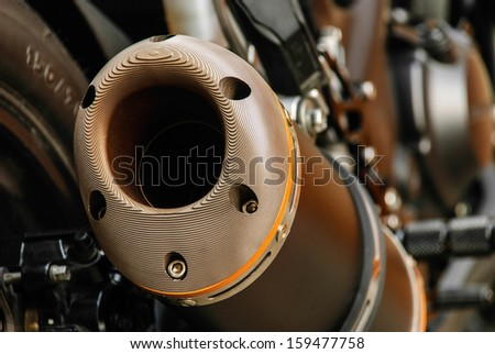 Stainless Exhaust Accessories Motorbikes for strength and beauty - stock photo