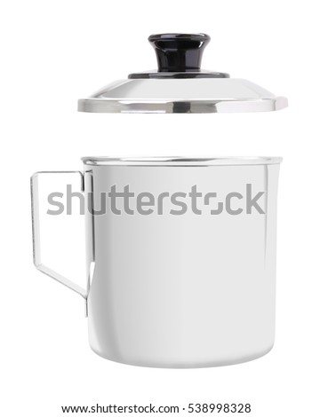 Stainless gutter cup with open cover on white background.