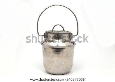 stainless kettle isolated on white - stock photo
