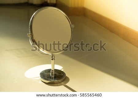 stainless makeup mirror with warm light
