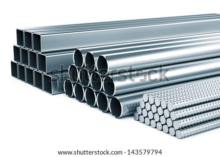 Stainless metal isolated on a white background. - stock photo