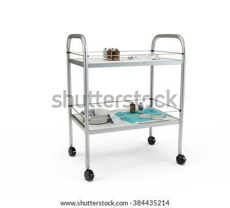 Stainless metal medical supply cabinet placed on a trolley, 3d illustration, isolated against a white background - stock photo