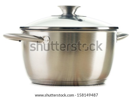 Stainless pan isolated on a white background