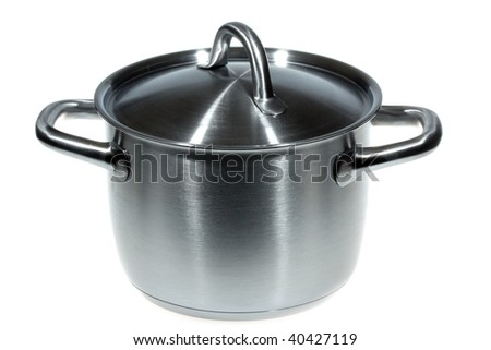 stainless pan isolated on white backround