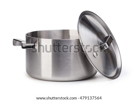 Stainless pots isolated on white background