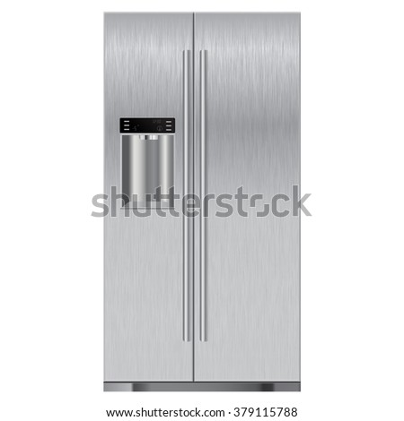 Stainless refrigerator with scratch.  illustration isolated on white background. Raster version - stock photo
