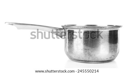 Stainless saucepan isolated on white