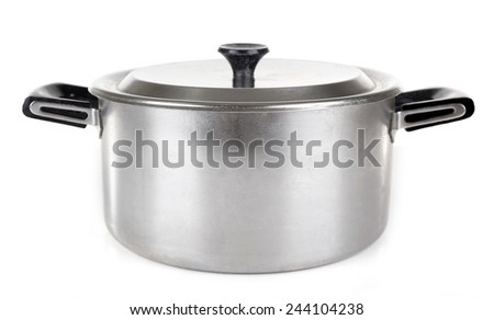 Stainless saucepan isolated on white background - stock photo