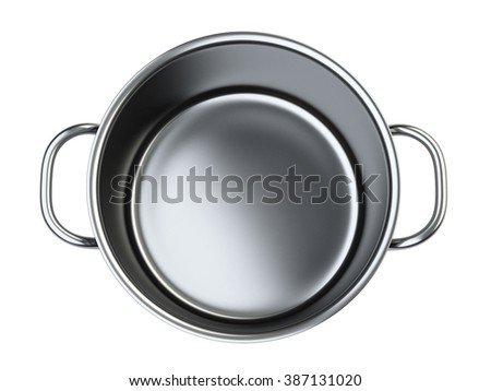Stainless saucepan. Isolated over white background 3d image.