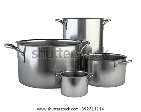 Stainless saucepan set. Isolated over white background 3d image.