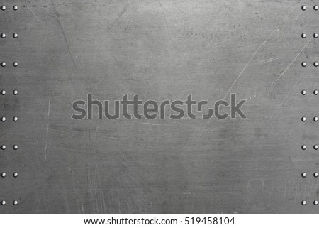 Stainless steel background, riveted metal plate