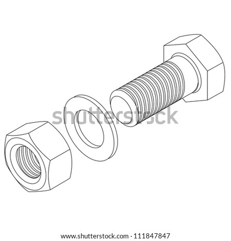 Stainless steel bolt and nut.  illustration.