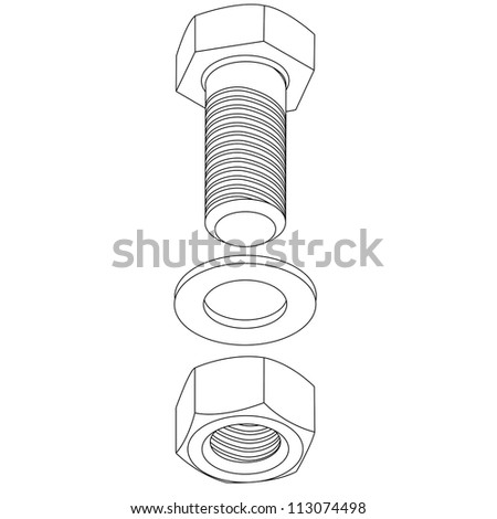 Stainless steel bolt and nut.  illustration. - stock photo