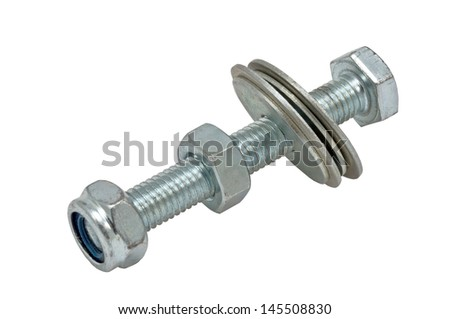 Stainless steel bolt and nut isolated on white