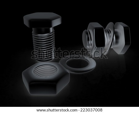 stainless steel bolts with a nuts and washers on black