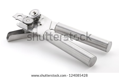 Stainless steel can opener isolated on white background - stock photo