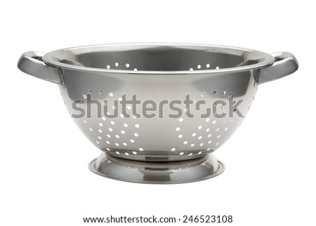 Stainless Steel Colander isolated on white with a clipping path. The image is in full focus, front to back. - stock photo