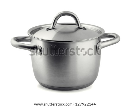 Stainless steel cooking pan isolated on white - stock photo