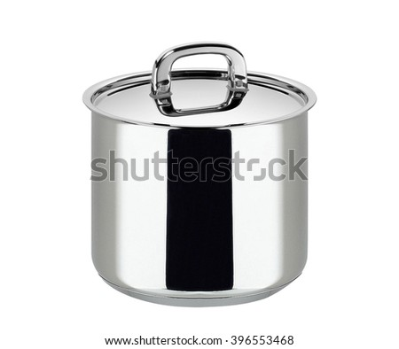 stainless steel cooking pot isolated - stock photo
