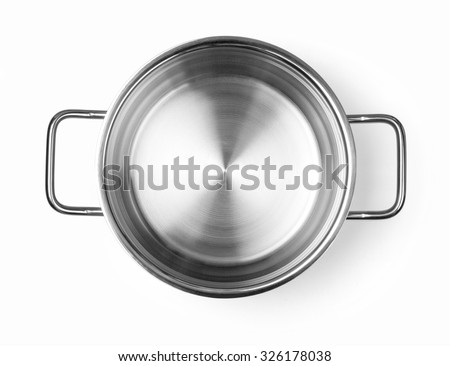 Stainless steel cooking pot  isolated over white background with clipping path - stock photo