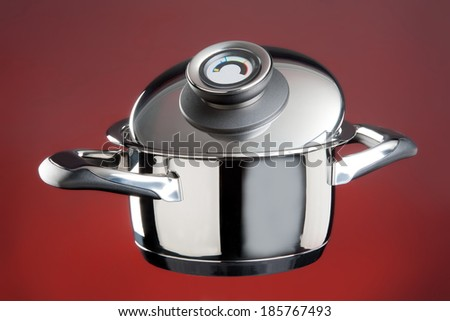 Stainless steel cooking pot on a red background