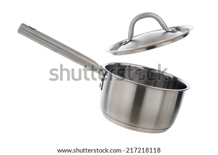 Stainless steel cooking pot with cover opened, isolated on white background - stock photo