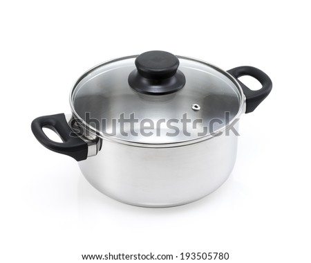 stainless steel cooking pot with lid isolated - stock photo