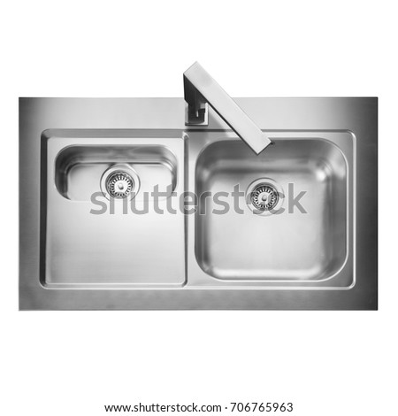 Stainless Steel Double Bowl Inset Kitchen Sink Top View With Tap Isolated On White Background