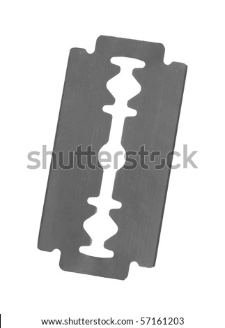 Stainless steel double edge blade; isolated on white background - stock photo
