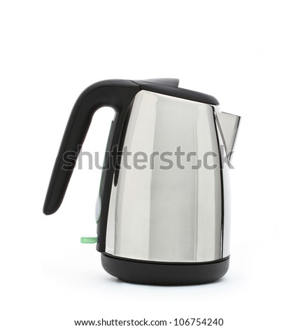 Stainless steel electric kettle isolated on white - stock photo