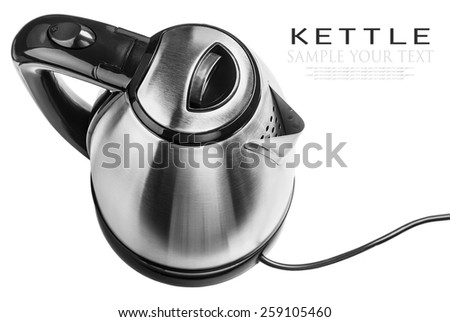 Stainless Steel Electric Kettle on the white background. The text is an example of writing and can be easily removed