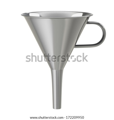 Stainless steel funnel - stock photo