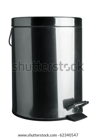 Stainless steel garbage bin isolated on white - stock photo