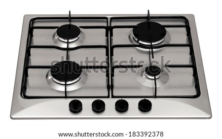 Stainless steel gas hob isolated on white - stock photo