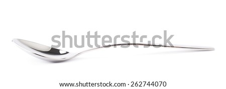 Stainless steel glossy metal kitchen spoon isolated over the white background, side view foreshortening - stock photo