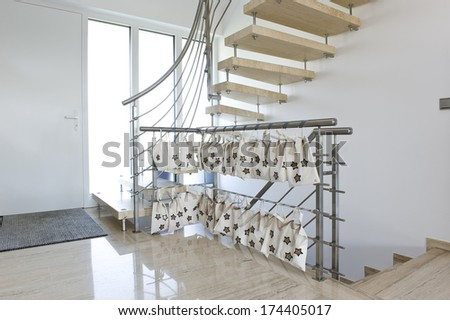 stainless steel handrail with Advent calendar