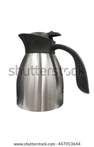 stainless steel kettle isolated on white background - stock photo