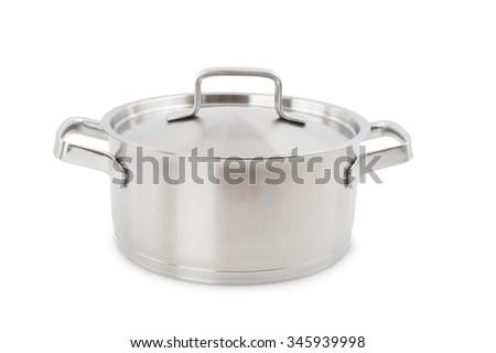 stainless steel kitchen casserole - stock photo