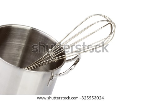 stainless steel kitchen tools on white Background - stock photo