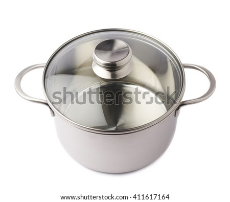 Stainless steel metal cooking pot pan over isolated white background - stock photo