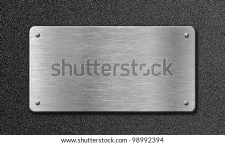 stainless steel metal plate - stock photo