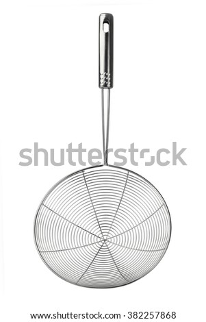 Stainless Steel Metallic Colander on White Background - stock photo