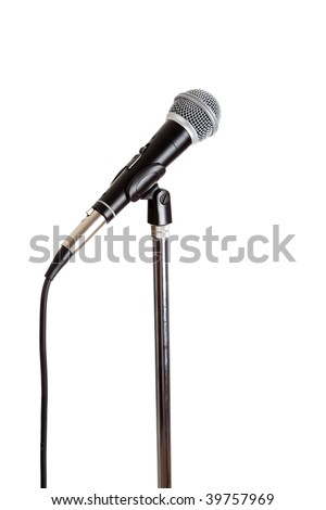 Stainless steel Microphone on a stand on a white background