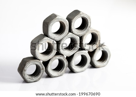 Stainless steel nut - stock photo