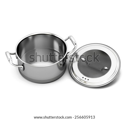 Stainless steel pan for cooking with the lid open. 3d illustration.