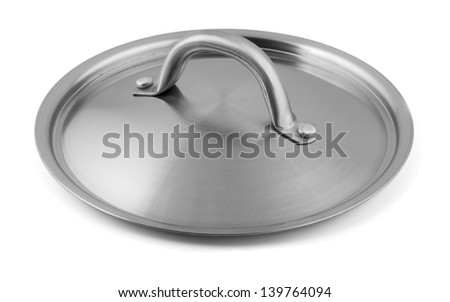 Stainless steel pan lid isolated on white - stock photo