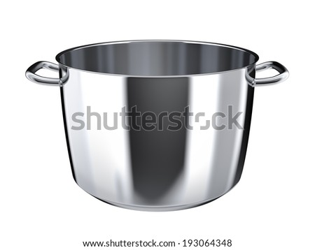 Stainless steel pan without lid - isolated on white background - stock photo