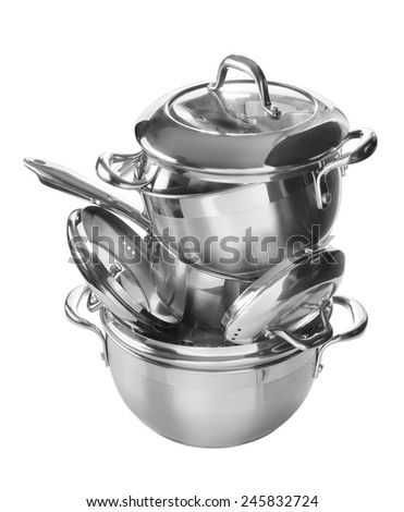 Stainless steel pans and pots isolated on white background